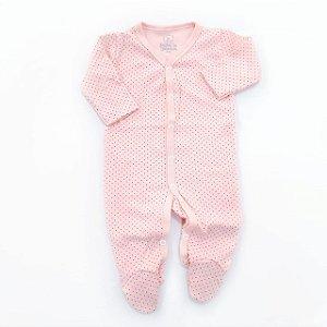 Macacão Pijama Poá Rosa Bebê