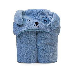 Cobertor de Microfibra c/ Capuz Azul