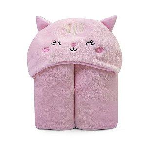 Cobertor de Microfibra c/ Capuz Rosa