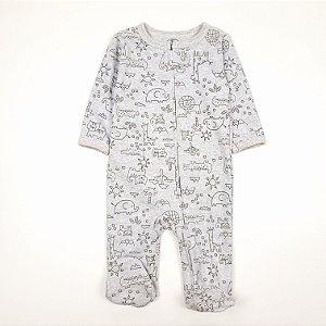 Macacão Pijama de Zíper Safari