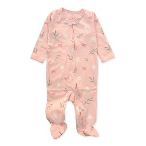 Macacão Pijama de Zíper Rosa Bebê Flores