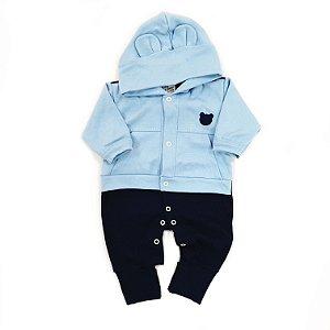 Macacão de Touca Urso Azul Bebê