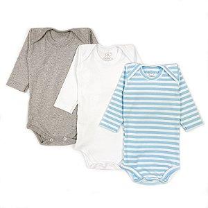 Kit Básico Manga Longa Branco, Mescla e Listrado Largo Azul Bebê