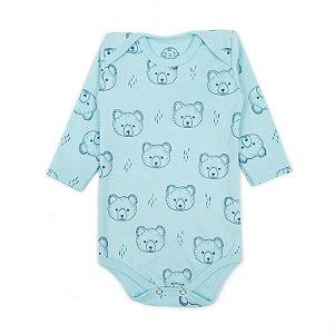 Body Manga Longa Ursos Azul Bebê