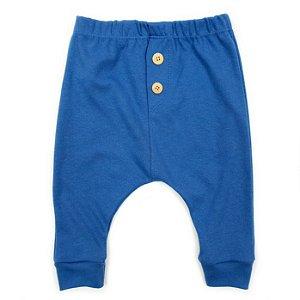 Calça Saruel Azul Jeans com Braguilha e Botão de Madeira