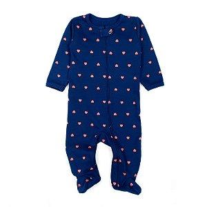 Macacão Pijama de Zíper Azul Marinho com Corações