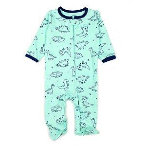 Macacão Pijama de Zíper Verde e Dino Azul Marinho