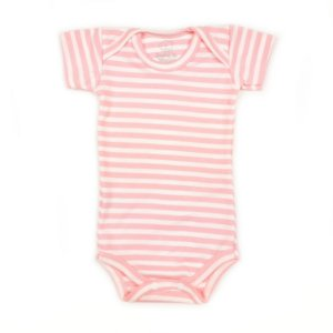 Body Manga Curta Listrado Rosa Bebê e Branco
