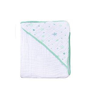 Toalha de Banho Soft Celeste Verde com capuz 80cm80cm