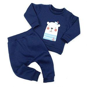 Conjunto de Moletom Azul Marinho Flanelado Urso