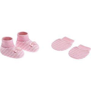 Kit Luva e Sapatinho Rosa Bebê Listras RN