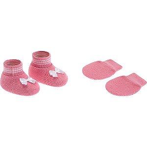 Kit Luva e Sapatinho Rosa com Laço Branco