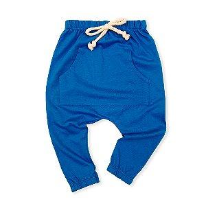Calça Saruel com Bolso Canguru Azul Poggio