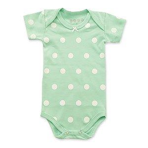 Body Manga Curta Poá Verde Bebê