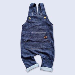 Jardineira Longa Jeans com Bolso Canguru