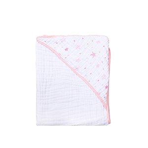 Toalha de Banho Soft Estrela Rosa Bebê Estampada com capuz 80cmX80cm