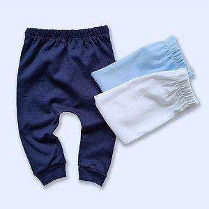 Kit Calça Básica com 3 unidades, Azul Marinho, Azul Bebê e Branco.
