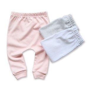 KIt Calça Básica com 3 unidades, Rosa Bebê, Cinza Mescla e Branco