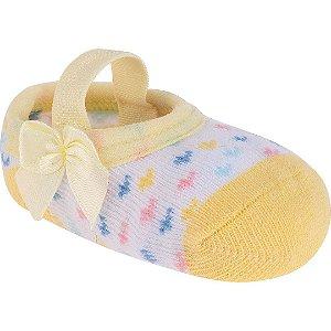 Meia Sapatilha Corações Amarelo Bebê