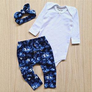 Conjunto Floral Azul, Body Branco, Calça Legging e Faixa de Cabelo