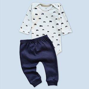 Conjunto Body Manga Longa Azul Bebê e Calça Azul Marinho Veículos