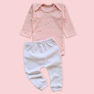 Conjunto Body Manga Longa Jardim Rosa Bebê e Calça Branco