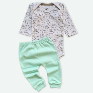 Conjunto Body Manga Longa Dino e Calça Verde Bebê