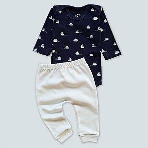 Conjunto Body Manga Longa Navio Azul Marinho e Calça Azul Bebê