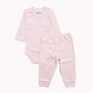 Pijama Rosa Bebê Liso