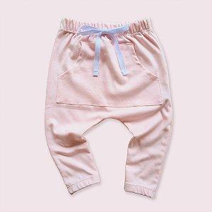 Calça Saruel Rosa Bebê c/ Bolso Canguru