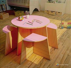 Mesa Infantil Biscuit com 4 bancos, diversas cores