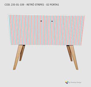 Armário Retrô Customizado Stripes, em MDF, pés palitos, 1 ou 2 Portas