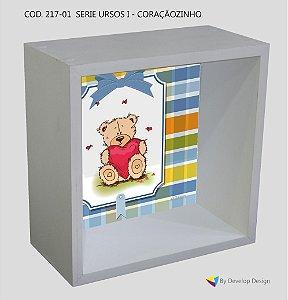 Nicho de parede infantil Customizado Serie Ursos I - Coraçãozinho, em madeira, várias cores