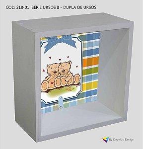 Nicho de parede Infantil Customizado Serie Ursos II - Dupla de Ursos, em madeira, várias cores