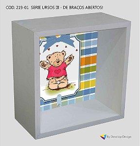 Nicho de parede infantil Customizado Serie Ursos III - Braços Abertos, em madeira, várias cores