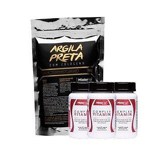 Kit Argila preta + 3 Suplementos Capilar - Mister Hair