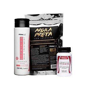 Kit Detox Anti-queda - Mister Hair (Shampoo + Argila Preta + Suplemento)