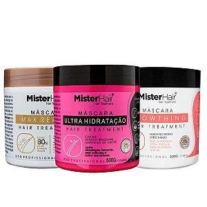 Cronograma Capilar - Ultra Recuperação - Mister Hair 500g (Ultra + Max + Growthing)
