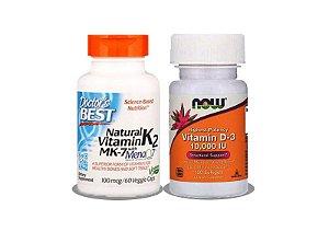 Vitamina D3 10,000UI + Vitamina K2 Mk7 100mcg Frete Grátis!
