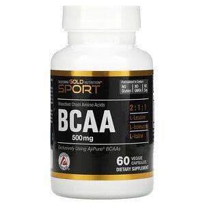 BCAA California Gold Nutrition 500mg 60 Cápsulas Veganas