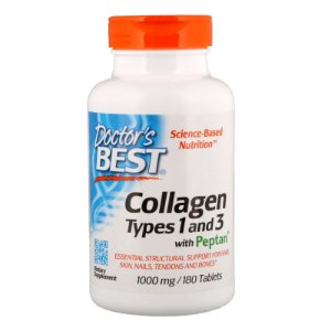 Colágeno Doctors Best Tipo 1 & 3 com Peptan, 1000mg 180 Tablets