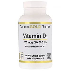 Vitamina D3 California Gold Nutrition 250mcg 10,000 UI 360 Softgels