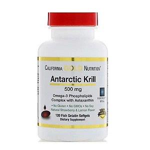 Óleo de Krill California Gold Nutrition 500mg 120 Softgels de Peixe Sabor de Morango
