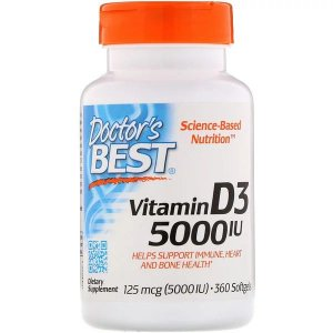 Vitamina D3 5,000UI Doctors Best 360 Softgels