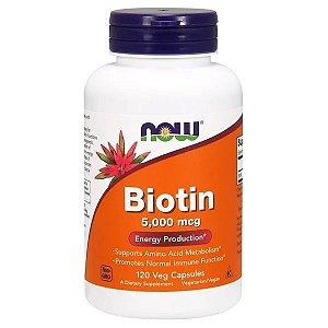 Biotina NOW FOODS 5,000mcg 120 Cápsulas Veganas