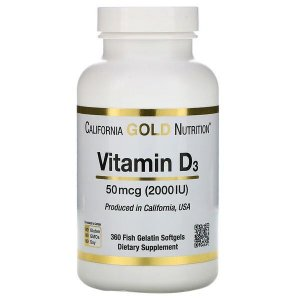 Vitamina D3 California Gold Nutrition 2,000UI 360 Softgels de peixe