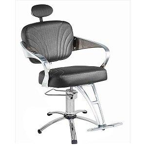 Cadeira Adelle Hidráulica Para Salão Cabeleireiro, Prata - Dompel