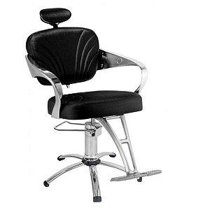Cadeira Adelle Hidráulica Para Salão Cabeleireiro, Preta - Dompel