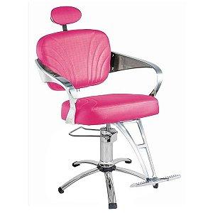 Cadeira Adelle Hidráulica Para Salão Cabeleireiro, Rosa - Dompel