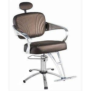 Cadeira Adelle Hidráulica Para Salão Cabeleireiro, Marrom Tabaco - Dompel